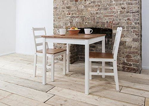 Dining Table And 2 Chairs Dining Set Bistro (White & Natural Pine)