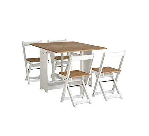 Drop Leaf Dining Table 4 Chairs Extendable Extending Wooden Furniture Small Space Saving Breakfast Pine Top Seat Folding Away Fold Out