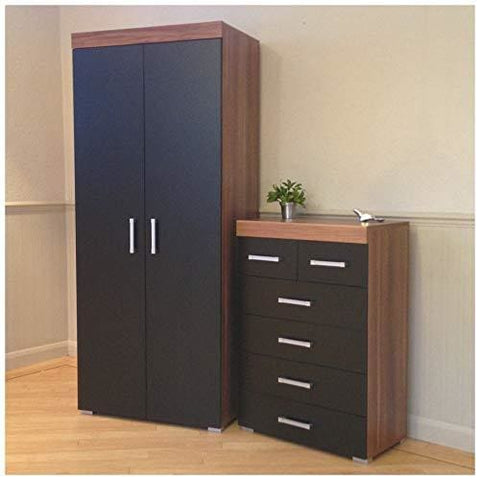 Drp Trading 2 Door Wardrobe & 4+2 Drawer Chest In Black & Walnut Bedroom Furniture Set 6 Draw