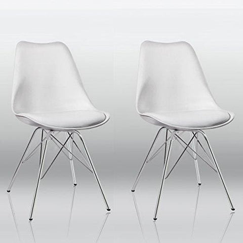 Duhome Dining Chairs Set Of 2 White Plastic Chairs With Faux Leather Seat Cushion Retro Design 0551