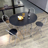 Eggree Foldable Dining Table 4 Chairs Set 5Pcs Butterfly Kitchen Folding Dining Table Chairs Movable Casters Black