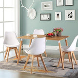 Eggree Set Of 4 Tulip Dining/office Chair With Solid Wood Oak Legs (Tm) Armless Padded Design Chairs For Extra Comfort - White