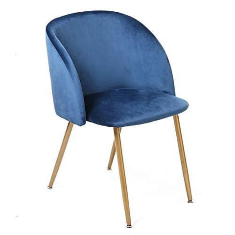 Eggree Vintage Soft Velvet Chair Dining Chairs Upholstered Armchair Metal Legs In Spray Gold Finish Blue