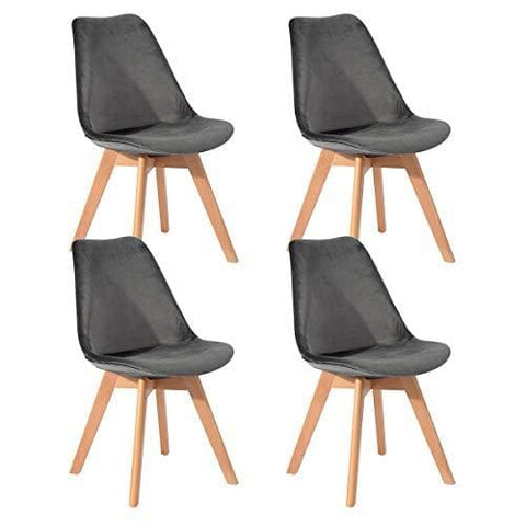 Eggree(Tm Set Of 4 Soft Velvet Tulip Dining Chairs With Solid Wood Beech Legs Armless Padded Design Chairs Grey