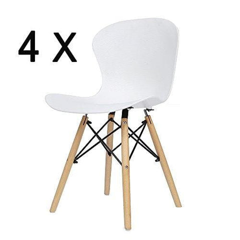 Eiffel Dining Room Chair Plastic Ribbed Surface With Wood Legs Chair For Kitchen Dining Bedroom Living Room Set Of 4 White