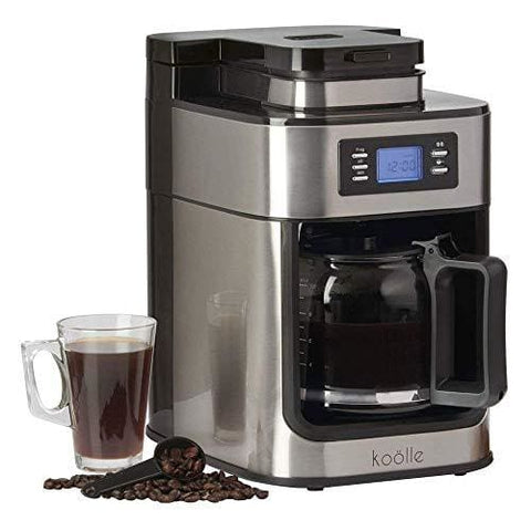 Electric Filter Coffee Machine Programmable Digital Display With 24 Hour Timer 10 Cup Capacity 1000W By Koölle (With Bean Grinder)