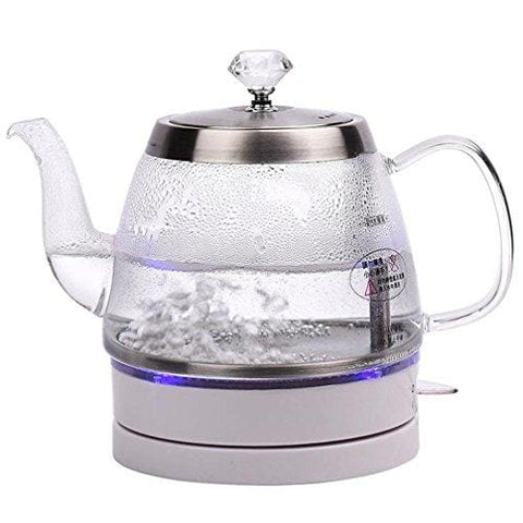 Electric Glass Kettle Cordless Quiet Boil Blue Led 1.0L Stainless Steel Kettles Transparent