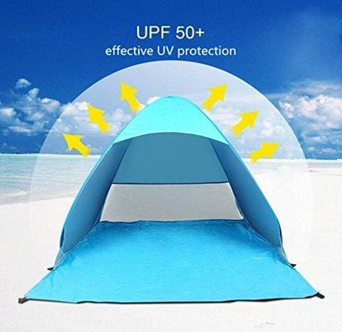 Emwel Outdoor Automatic Pop Up Instant Portable Cabana Family Beach Tent Sun Shelter Upf 50+ For 2 Or 3 Person - Blue
