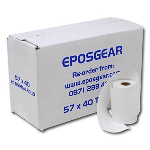 Eposgear® 20 Rolls Of 57 X 40 Mm Thermal Pdq Receipt Paper - For Worldpay Ingenico Verifone And More Credit Card Machines And Streamline
