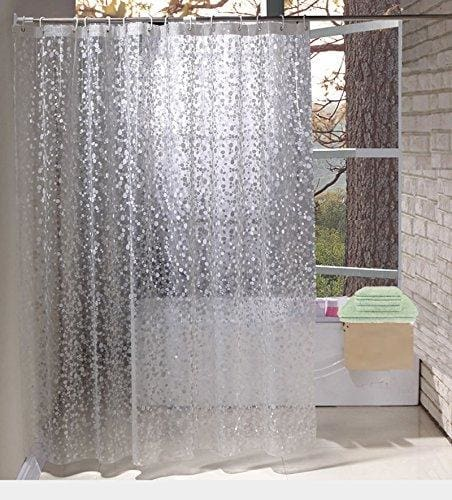 EurCross Shower Curtains EVA With Crystal Stone Waterproof And Mildew Resistant Semi Transparent Bathroom Curtain36W X 72L90