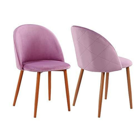Fayean Dining Chair Soft Velvet Cushion Chair With Sturdy Metal Legs For Home Kitchen Living Room Set Of 2(Pink)