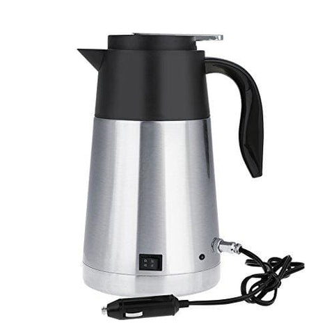 Fdit Portable Stainless Steel Car Truck Travel Electric Kettle Pot Heated Water Cup Fast Boiling For Tea Coffee Milk 1300Ml (24V)