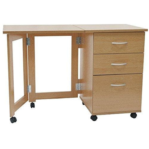 Flipp - 3 Drawer Folding Office Storage Filing Desk / Workstation - Beech