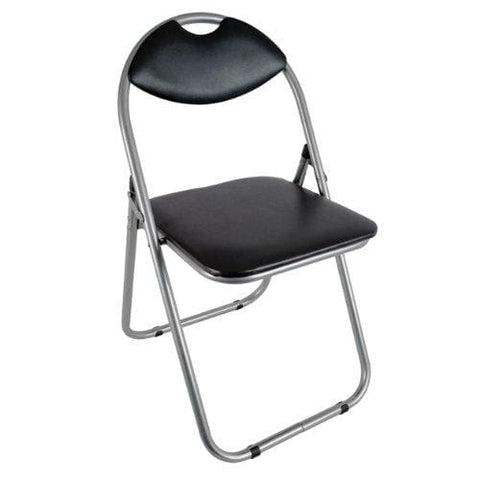 Folding Office Chair Black Faux Leather Padded Dining Seat