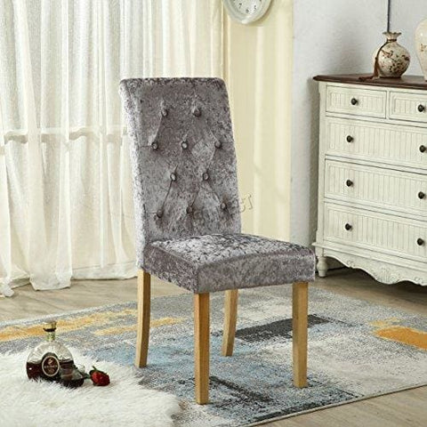 Foxhunter Westwood Furniture Set Of 6 Premium Crush Velvet Fabric Dining Chairs Roll Top Scroll High Back With Solid Wood Legs Seat
