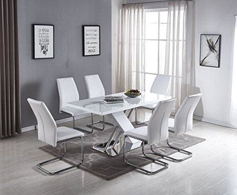 Furnitureboxuk Sorrento Modern Large White High Gloss Chrome Metal Dining Table And 6 White Stylish Lorenzo Dining Chairs Seats Set (Dining
