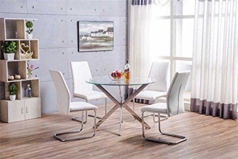 Furnitureboxuk Venice Chrome Metal Round Circular Glass Dining Table And 4 Lorenzo Dining Chairs Seats (4 White Chairs)