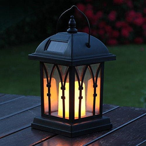Garden Candle Lantern - Solar Powered - Flickering Effect - Amber Led - 27Cm By Festive Lights