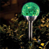 Garden Mile® 4X Colour Changing Led Glass Globe Lights Solar Lights Garden Lighting Stainless Steel Solar Lights Outdoor Garden Ornaments
