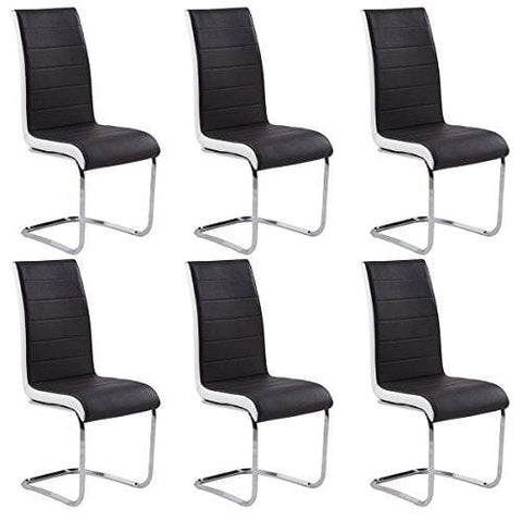 Gizza Dining Chairs Modern Artificial Leather Black White Metal Chrome Legs (6 Chairs)