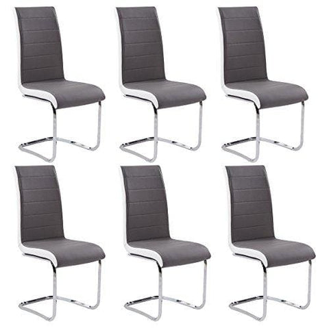 Gizza Dining Chairs Modern Artificial Leather Grey White Metal Chrome Legs (Set Of 6)