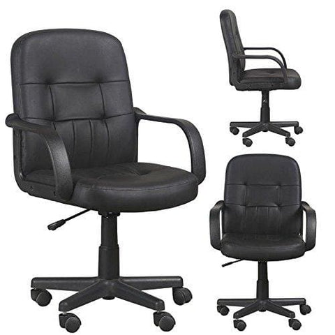 Gizza Modern Black Mid Back Support Office Chair Faux Leather High Adjustable For Computer Desk Workstation