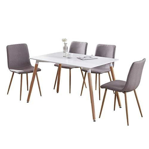 Gizza Wood Rectangular Dining Table With 4 Retro Metal Chairs Set For Dining Kitchen Breakfast Office Lounge Restaurant Inspired Designer