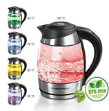 Gourmetmaxx 02125 Electric Illuminating Glass Kettle | Temperature Control & Colour-Changing Leds | For Tea Coffee & More | Bpa Free | 1.8 L
