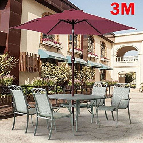 Green Bay Greenbay 3M Round Parasol 8 Metal Ribs Construction Garden Furniture Parasol Outdoor Umbrella With Winding Crank & Tilt Function