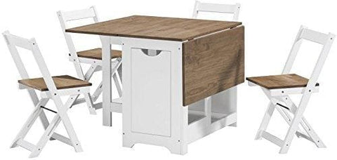 Greenheart Furniture (Uk & Ireland) Butterfly Dining Set With 4 Folding Chairs (Pine & White Santos) (Table & Chairs)