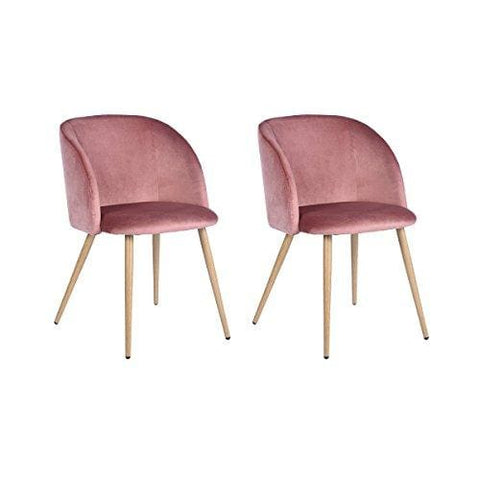 H.j Wedoo Set Of 2 Retro Vintage Armchair Velvet Fabric Tub Accent Chair Lounge Chair For Dining Living Room - Rose Pink