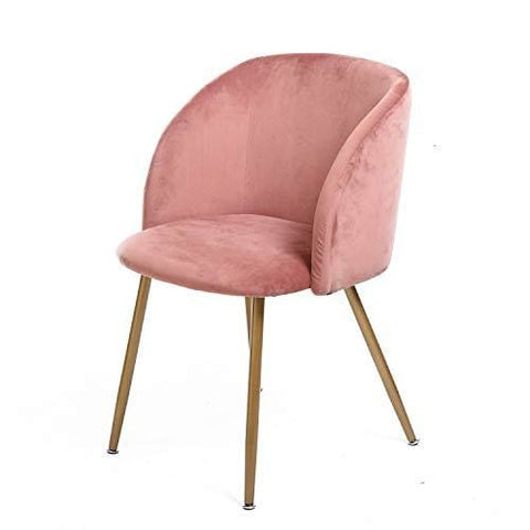 H.j Wedoo Vintage Soft Velvet Dining Chairs Modern Style Armchair Upholstered Back And Cushion Metal Legs In Spray Gold Finish - Rose Pink