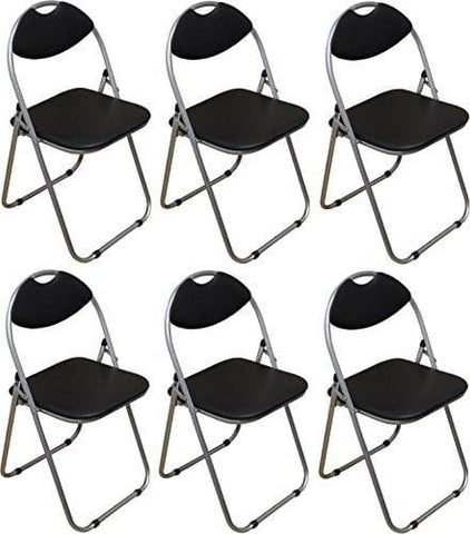 Harbour Housewares Black Padded Folding Desk Chair - Pack Of 6