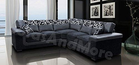 Harmony Corner Sofa Black Faux Leather Fabric Settee
