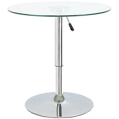 Hartleys Adjustable Height Round Table - Clear Glass