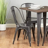 Hartleys Industrial Design Cafe/bistro Chairs - Gunmetal Grey - Set Of 4