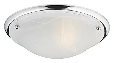 Haysom Interiors Contemporary Ip44 Alabaster Glass Flush Bathroom Ceiling Light Metal Polished Chrome