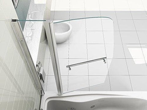 Hnnhome 180° Pivot Sail Style Double Panel Over Bath Shower Screen 6 Mm Glass With Towel Handle