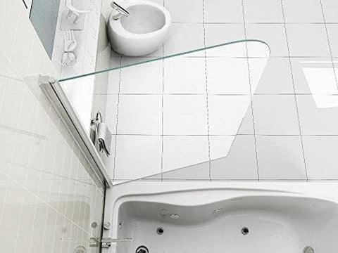 Hnnhome Easy Clean 180° Pivot Single Panel Over Bath Shower Screen 6 Mm Glass