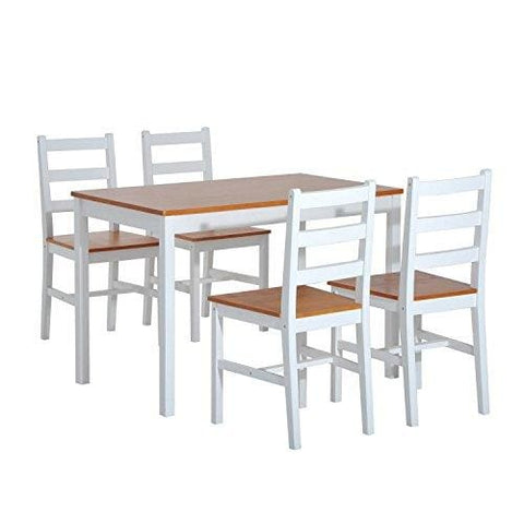 Homcom 5Pc Dining Set 1 Table And 4 Chairs Solid Wood Kitchen Dinette Furniture