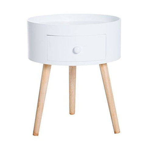 Homcom Modern Round Coffee Table Wooden Side Table Living Room Storage Unit W/ Drawer Wood Leg - White