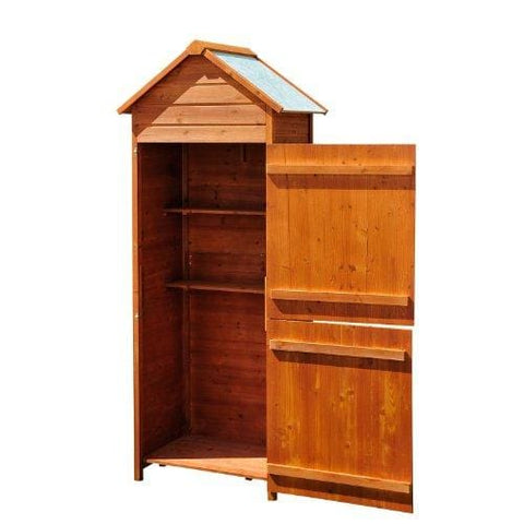 Homcom Wooden Shed Timber Garden Storage Shed Outdoor Sheds - 190Cm X 79Cm X 49Cm