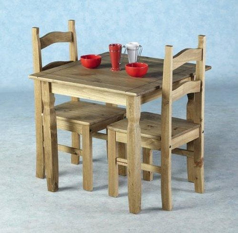 Home Discount Corona Dining Set 2 Seater Solid Pine Wood Rustic Wax Finish With 2 Chairs