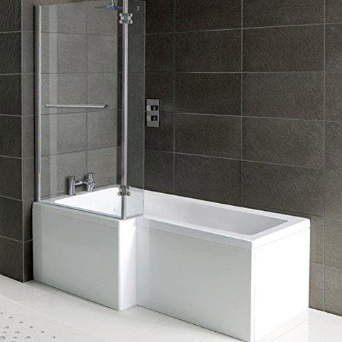 Home Standard® L Shape Bathroom Shower Bath Tub Front Panel & Shower Screen With Towel Rail | 1700Mm Left Hand