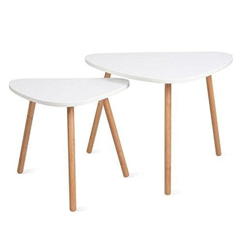 Homfa Coffee Table Nesting Coffee End Tables Modern Decor Side Table Occasional Triangle Stand For Living Room Set Of 2 White