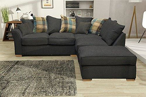 Hugo Corner Sofa Set Including Detachable Footstool (Grey Right Hand-Formal Back)