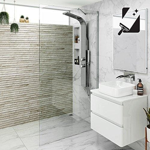 Ibathuk 800Mm Wet Room Glass Walk In 8Mm Easy Clean Shower Screen Panel - All Sizes