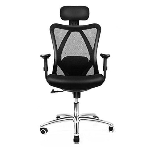 Intey Ergonomic Mesh Office Chair High Back Desk Chair With Adjustable Headrest Armrest Seat Height Tilt Tension And Lumbar Support Spine