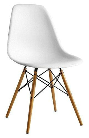 Joolihome Eiffel Dining Chair Plastic Wood Retro White Modern Furniture For Living Room Desk Patio Terrace Office Kitchen Lounging