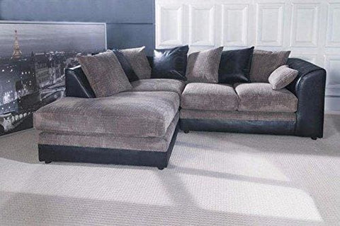 Joshua Corner Sofa Jumbo Cord Fabric (Left Hand Corner Black & Grey)